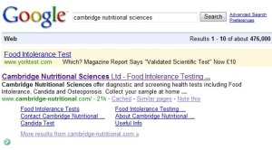"YorkTest claims that Which? describes IgG as ""validated scientific test"""